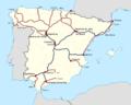Red actual de ferrocarriles de España (con cambio de ancho) 2014.png