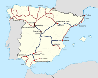 Alvia - Mixed-high speed services via conventional lines in Spain. Sections over High-speed railway lines in blue, sections over conventional line (in Iberian gauge) in red).