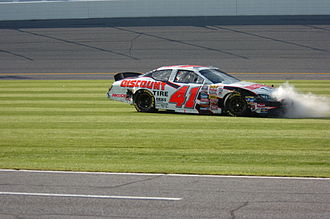 Reed Sorenson - Sorenson in his 2006 Busch Series car after his car hit the wall.
