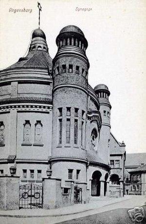 Regensburg Synagogue - Postcard of the Synagogue in Regensburg, c. 1915