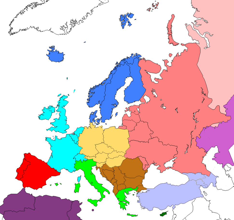 Regions of Europe based on CIA world factbook
