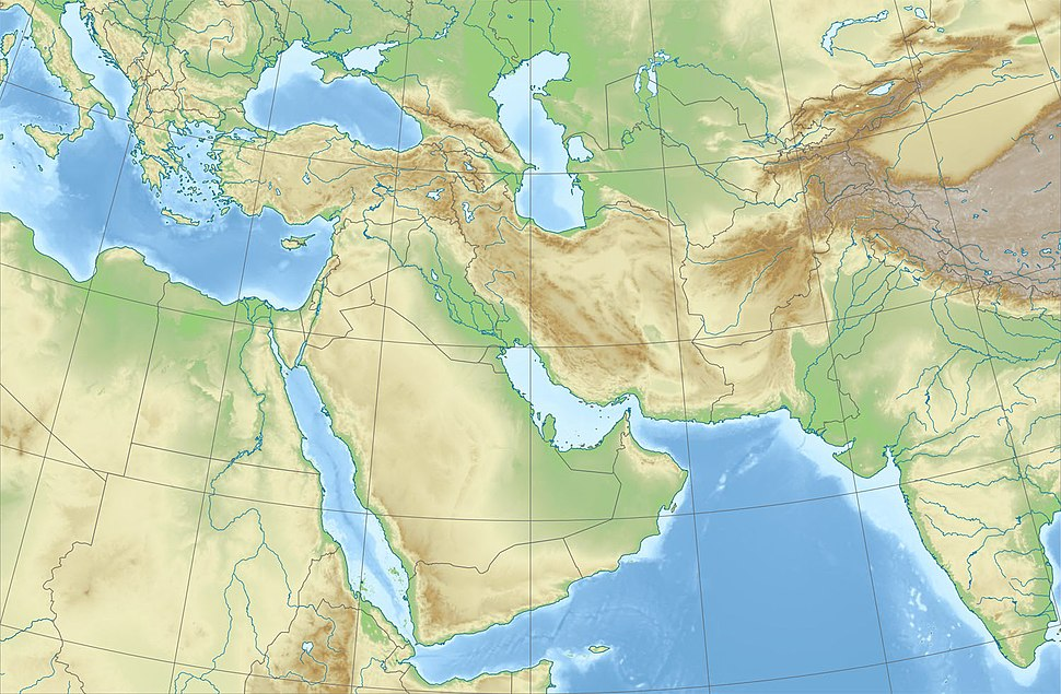 Relief Map of Middle East
