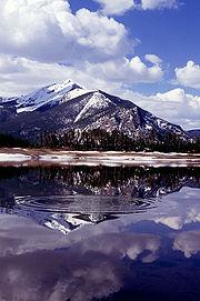 Snowmelt runoff fills a reservoir in the Rocky Mountains near Dillon, Colorado.
