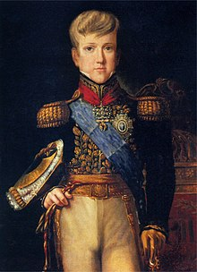 Three-quarters length painted portrait of the pre-adolescent Pedro in gold-embroidered tunic with sash of office and hat tucked under his right arm and left hand resting on the pommel of his sword