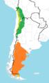 Rhea pennata, map of subspecies ranges.png