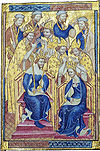 Richard II, the sol-called 'Westminster Portrait', painted by an unknown artist working in the International Gothic style, 1390s
