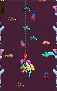 Red lure hangs from dotted line two-thirds down the screen with a bunch of fish attached where the hook once was, surrounding it in the royal purple sea are crabs, orange fish, eels, and blue jellyfish, with crystal-like protrusions from the left and right walls