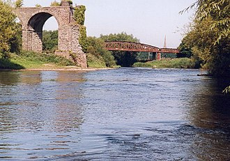 Wye Valley Railway - The remains of the viaduct carrying the railway over the River Wye in Monmouth; the Ross and Monmouth line's viaduct is beyond