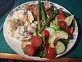 Roast chicken legs with asparagus, potato salad, colesaw, cherry tomatoes, cucumber, avocado, red pepper, beetroot and lettuce. (41665198520).jpg