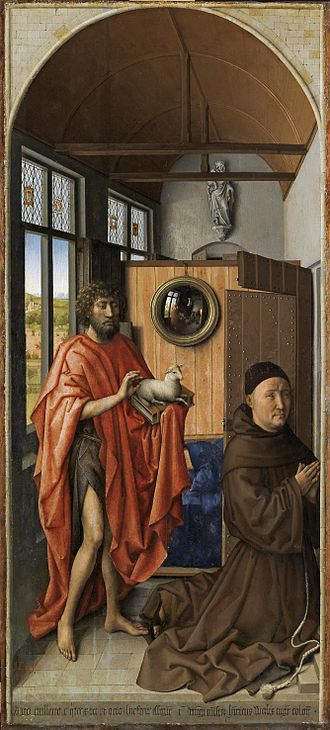 The Werl Triptych - Left wing with donor portrait of Heinrich von Werl and Saint John the Baptist