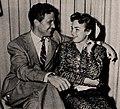 Robert Stack met Terry Moore on Juke Box Jury, 1954.jpg