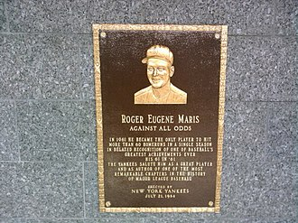 Roger Maris - Roger Maris plaque in Yankee Stadium's Monument Park.