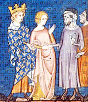 Gisela of France - 14th century depiction of the marriage of Rollo and Gisela