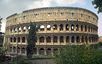 Ancient Roman architecture - The Colosseum in Rome, Italy; the classical orders are used, but purely for aesthetic effect.
