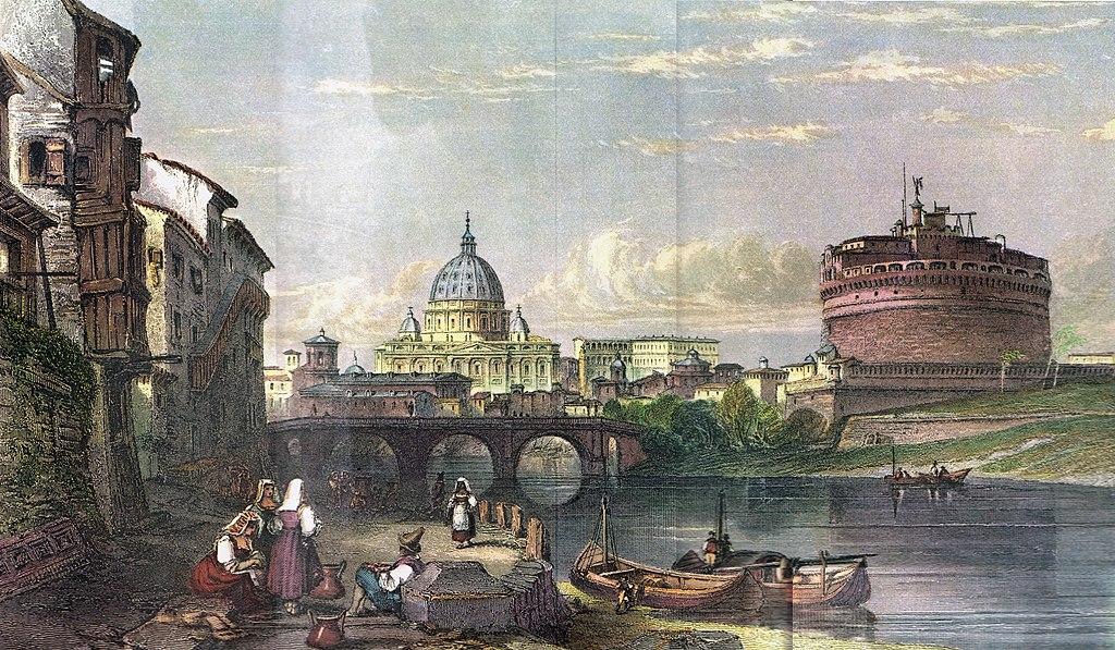 Chateau Saint Ange à Rome avec la basilique de Saint Pierre du Vatican en arrière plan (1835). Dessin de Major Irton