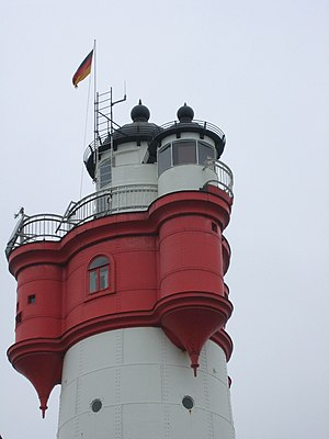 Roter Sand - The three oriel windows of the tower. The hoisted flag shows that guests are staying in the lighthouse over night.