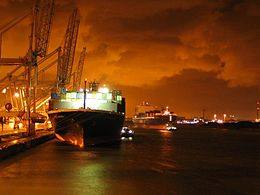 Rotterdam harbour by night.jpg