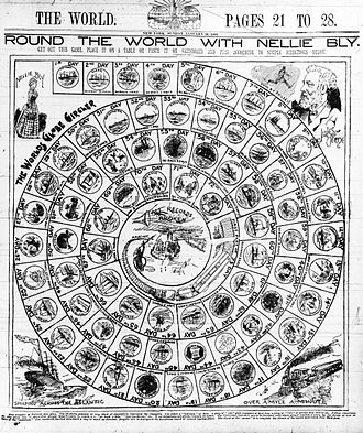 Around the World in Seventy-Two Days - Game board illustrating journalist Nellie Bly's circumnavigation of the globe (1889-1890), in the New York World, 26 January 1890.