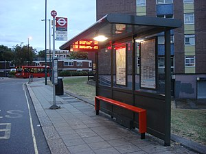 London Buses - An example of an old-type typical London bus stop.