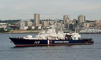 Coast Guard (Russia) - Image: Russian Border Guard vessel Vorovskiy in Seattle (cropped)