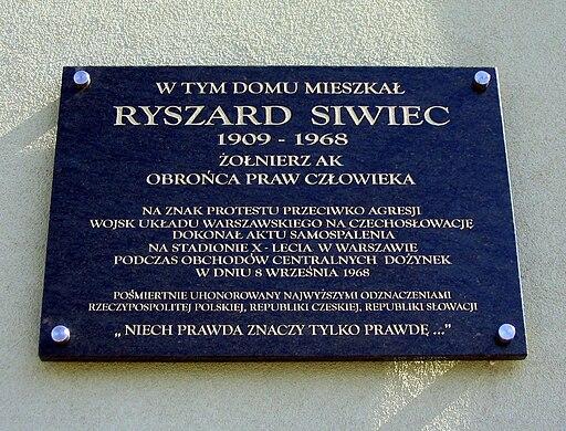 Ryszard Siwiec - Tablica