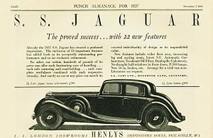 SS Cars Ltd - Advertisement 1936 image is of a 2½ litre car