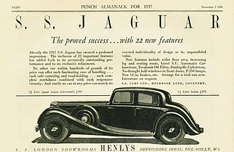 SS Cars - Advertisement 1936 image is of a 2½ litre car