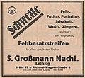 S. Großmann Nachf., Leipzig Brühl 47, Schweife, Feh-, Fuchs-, Fuchslin-, Schakal- Wolf, Ziegen-, gedreht und ungedreht, Fehbesatzstreifen, 1926.jpg