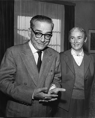 Andric with his wife Milica upon learning he had won the Nobel Prize in Literature S. Kragujevic, Andric na vest o N. nagradi 1961.JPG