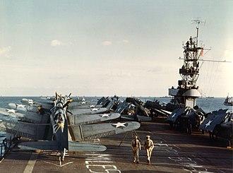USS Sangamon (CVE-26) - Composite Squadron 26 (VC-26) aircraft on Sangamon in November 1942.