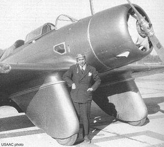 Alexander P. de Seversky - Alexander de Seversky standing before the SEV-3XAR, autumn 1934
