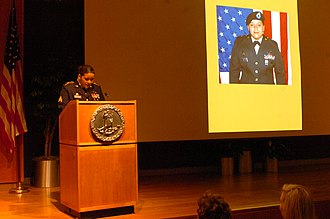 Virginia Women in History - Image: SGT Monica Beltran, the first woman in the Virginia National Guard to receive the Bronze Star Medal for Valor, is honored March 29, 2012 during the Virginia Women in History program
