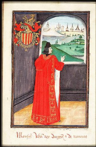 John II of Aragon and Navarre - John as a Knight of the Golden Fleece Miniature from the southern Netherlands, 1473