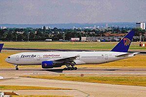 EgyptAir Flight 667 - SU-GBP, the aircraft involved, at London Heathrow Airport.