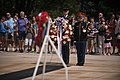 Saenuri Party Chairman Kim Moo Sung lays a wreath at the Tomb of the Unknown Soldier at Arlington National Cemetery (20003965266).jpg