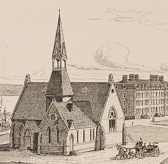 Sage Chapel - Sage Chapel in 1874; note the tower and spire.