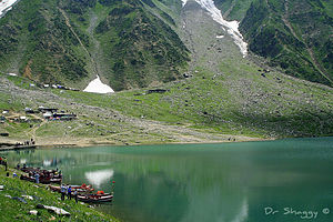 Lake Saiful Maluk and mountain peaks at Saiful Muluk National Park.