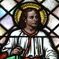 Saint Peter Catholic Church (Millersburg, Ohio) - stained glass, Christ Child - detail.jpg