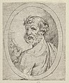 Saint Peter seen from behind, turning to face outwards and holding a key, in an oval frame, from Christ, the Virgin, and Thirteen Apostles MET DP837911.jpg