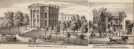 Left: First Greek Revival Saline County Courthouse, Right: Garrison House, later Hotel Sterling on Poplar Street.
