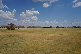 The parade ground of Fort Concho, which fills out the lower half of this image
