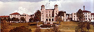 Naval Medical Center San Diego - The hospital's administration building, built in the 1920s, was designed in the Spanish Colonial Revival style.