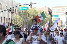 Mexican immigrants are seen protesting for more rights in San Jose.
