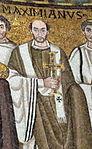 San vitale, ravenna, int., presbiterio, mosaici di giustiniano e la sua corte 05 massimiano.jpg