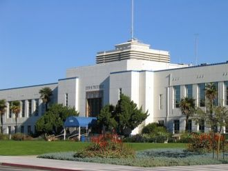Santa Monica City Hall, designed by Donald Parkinson, with terrazo mosaics by Stanton MacDonald-Wright Santa Monica City Hall.JPG