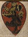 Santa trinita, cappella davanzati, Incoronazione della Vergine e dodici santi di Bicci di Lorenzo, stemma davanzati.jpg