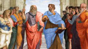 Lyceum (Classical) - Plato and Aristotle walking and disputing. Detail from Raphael's The School of Athens (1509-1511)