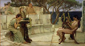 590s BC - Sappho and Alcaeus by Lawrence Alma-Tadema (1881).