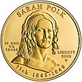 Sarah Childress Polk First Spouse Gold Coin Obverse.jpg