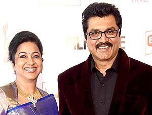 R. Sarathkumar - Sarathkumar with his wife Raadhika at the 62nd Filmfare Awards South in 2015.